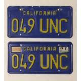 c.1976 California License Plates - Gold on Royal Blue - E&G