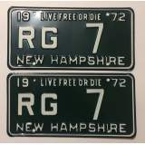 1972 New Hampshire License Plates - M&M