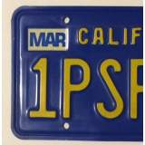 c.1981 California License Plates - Gold on Royal Blue - E/VG