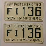 1963 New Hampshire License Plates - E&E