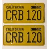 1956 California License Plates -  Black on Yellow - VVG