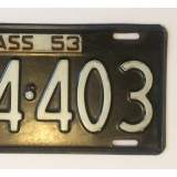 1953 Massachusetts License Plate - VG