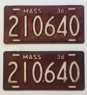 1936 Massachusetts License Plates - G&G