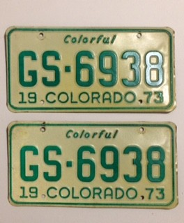 1973 Colorado License Plates - VG&VG