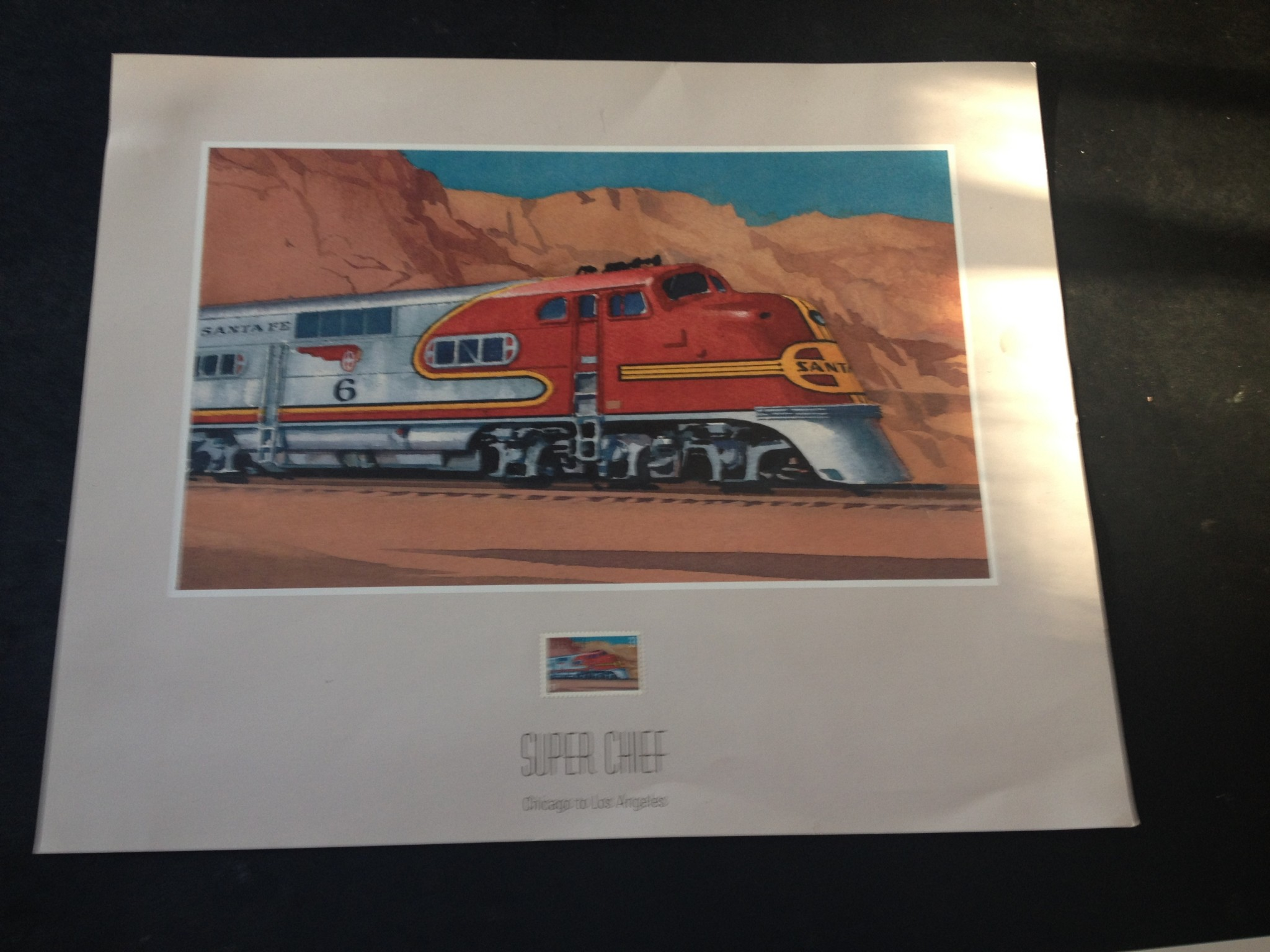 SUPER CHIEF TRAIN PRINT STAMP by TED ROSE TRAIN RAILROAD PRINT W/STAMP