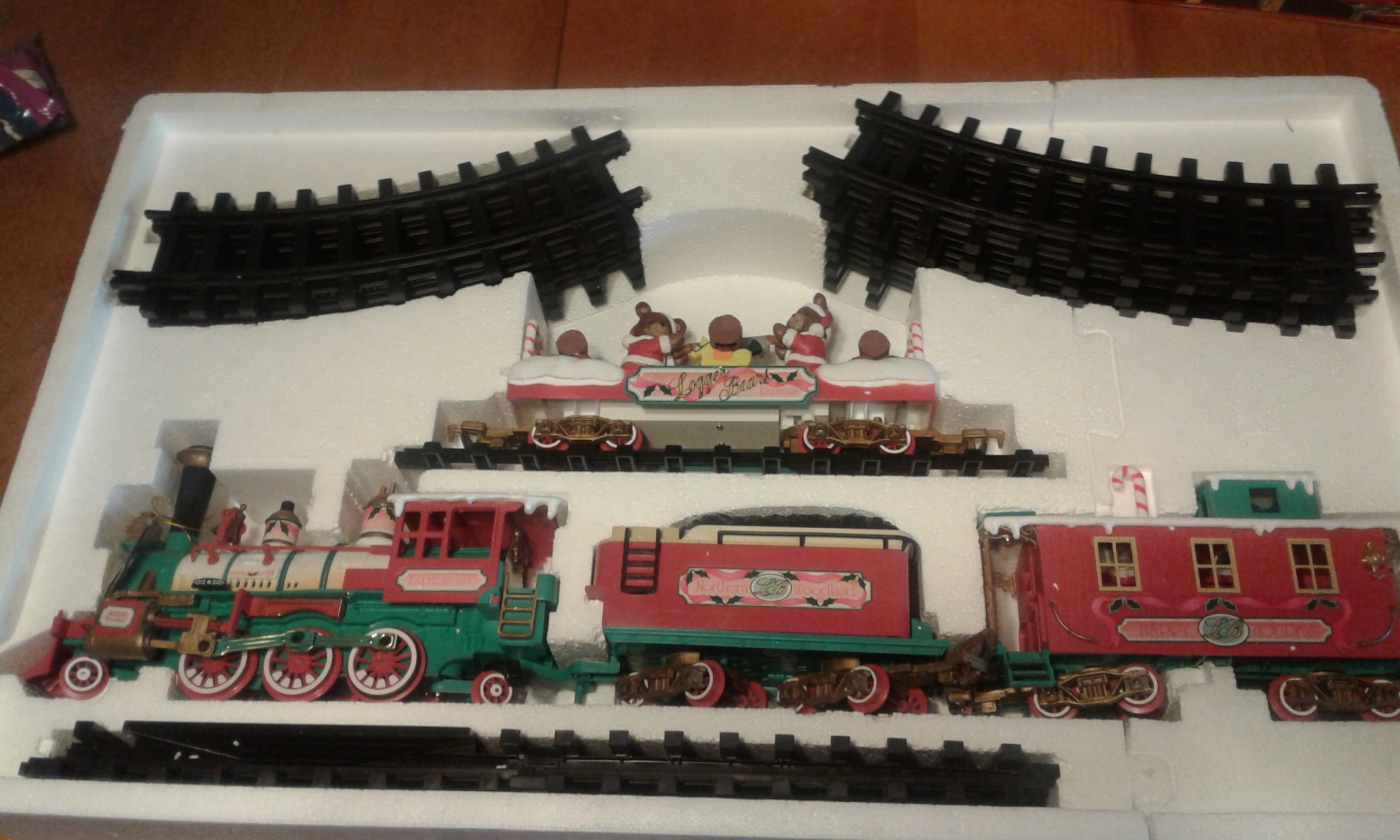 "New Bright 181 ""The Logger Bears"" Express Musical Holiday Train Set 1996"
