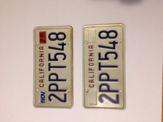 c.1989 California License Plates - Red & Blue on White - VG
