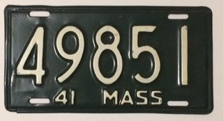 1941 Massachusetts License Plate