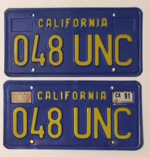 c.1976 California License Plates - Gold on Royal Blue - E&VVG