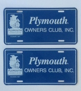 Plymouth Owners Club Plates - E&E