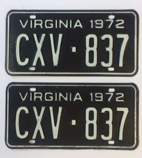 1972 Virginia License Plates - G&G